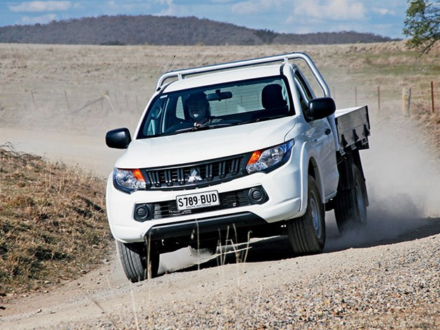 The Mitsubishi triton front on