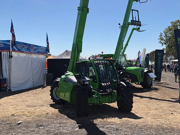 The Merlo telehandler front on