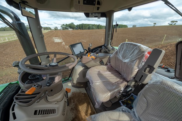 Inside the John Deere 6155R cabin