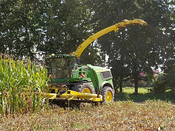 The John Deere 9800 self-propelled forage harvester working