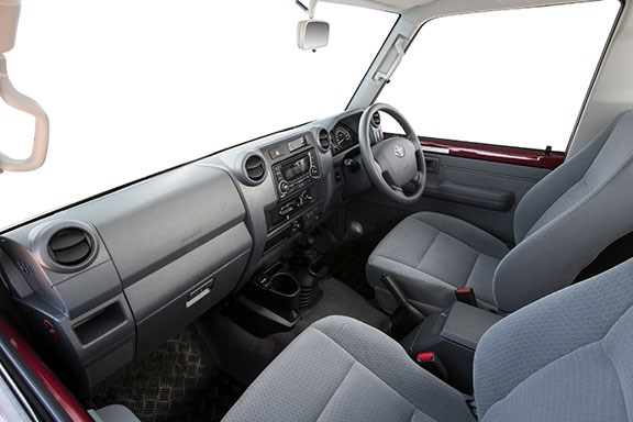 The Toyota Lancruiser 79 series interior