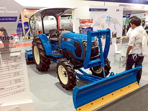 The LS Mtron MT3.50E tractor has a 37.3kW engine and is 3.2m long, bumper to link