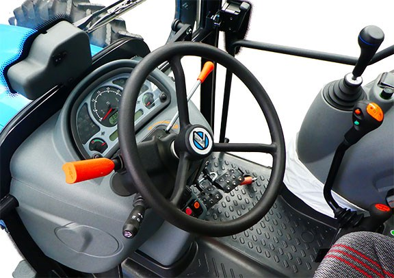Inside the Landini Powerfarm 110 cabin