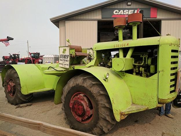 An original Steiger outside the Steiger factory in Fargo, USA