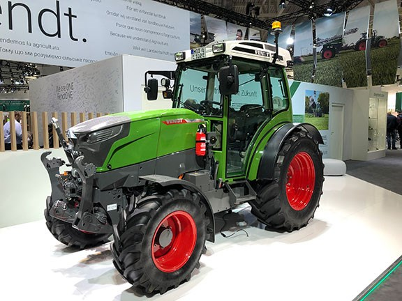 The Fendt e100 on display at Agritechnica