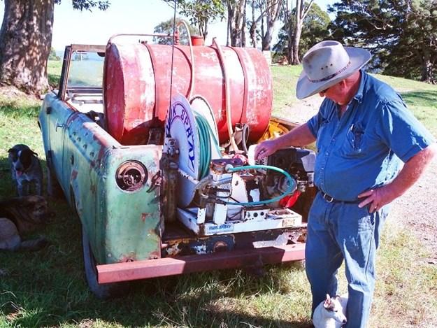 Don Roderick with his original Quik Spray unit