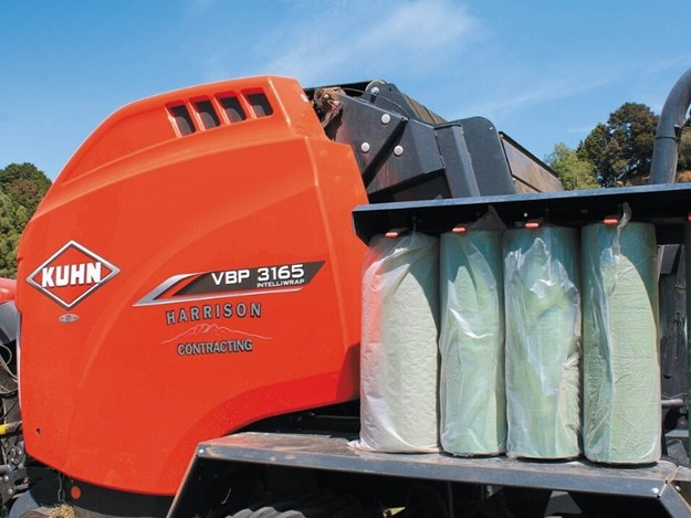 New Kuhn VBP3165, Wrap carrying capacity is five on each side and an additional two on the wrapper (12 total)