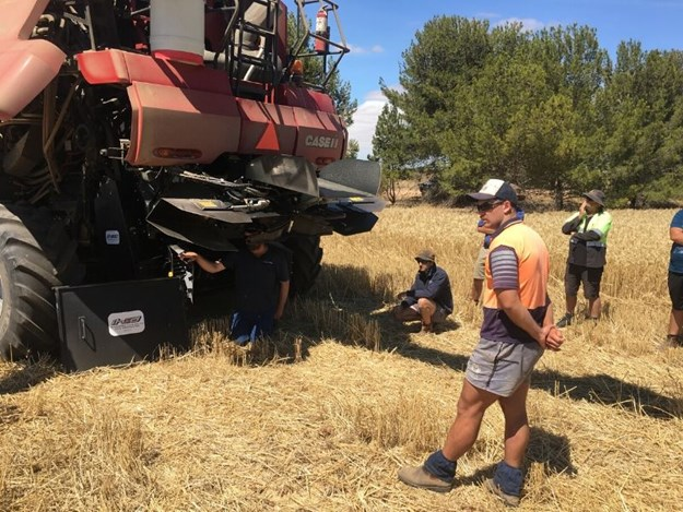 Growers tune-in to hear about the workings of the latest Harrington Seed Destructor (iHSD) during a Ramsey Bros Riverton demonstration day held at Owen