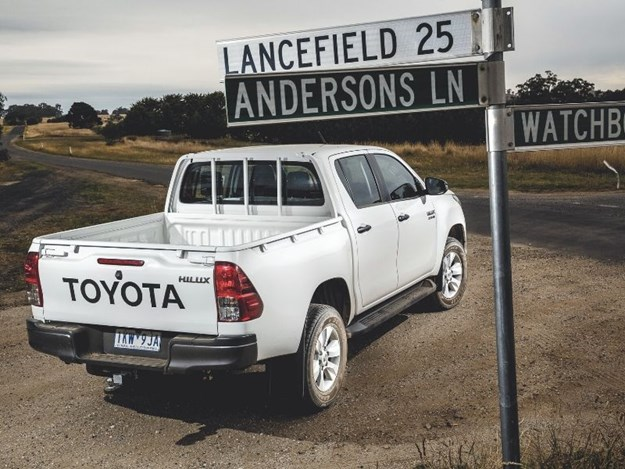 Toyota Hilux stopped at an intersection
