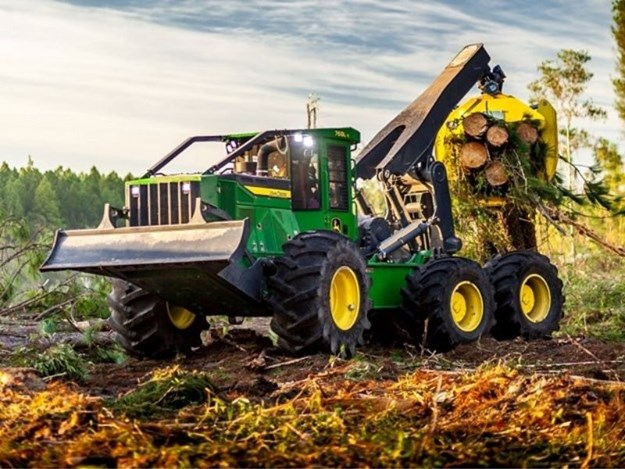 John Deere's latest piece of forestry equipment is the six-wheel 768L-II Bogie Skidder