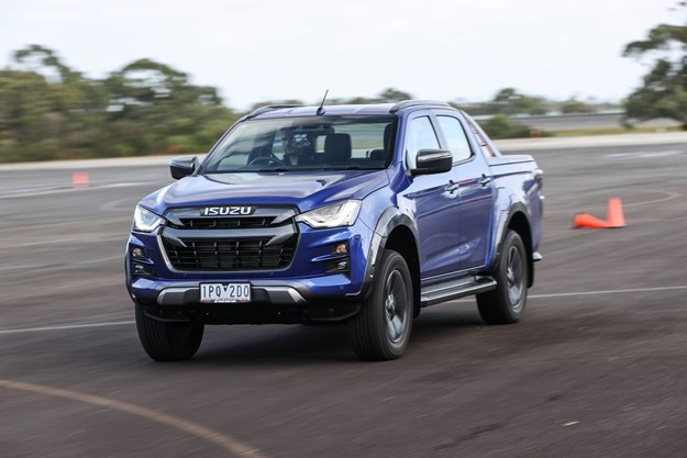 The facelifted Isuzu D-Max on. the road