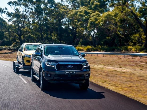 The Ford Ranger towing our turbo taxi
