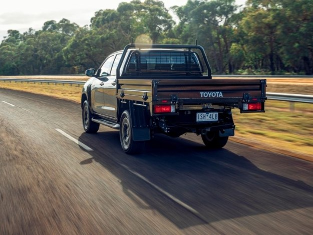 The Toyota Hilux SR5 on the road