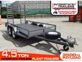 INTERSTATE TRAILERS 4.5 TON PLANT TRAILER 4.5 TON 4500kg PLANT TRAILERS suit Mini EXCAVATOR Fitted with 10 PLY 4x4 TYRES - 3500KG Payload, 1860mm x 4000mm Floor space. [ATTPTRAIL]