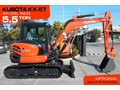 KUBOTA #2145 KUBOTA KX-57 5.5TON U57 STEEL TRACKS EXCAVATOR [5.6 HOURS] KX57 OPTIONAL RUBBER PAD AVAILABLE [MACHEXC] u57 kx57