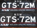 NUMBER PLATES GTS72M