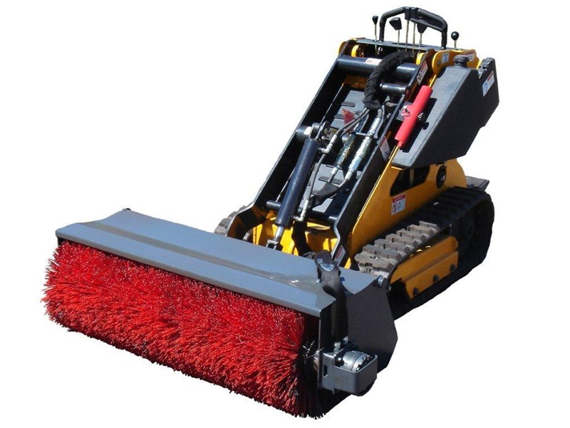 rhino heavy duty bucket broom. 1300mm open mouth sweeper. suit dingo/kanga mini loaders [attbroom] 236355 001