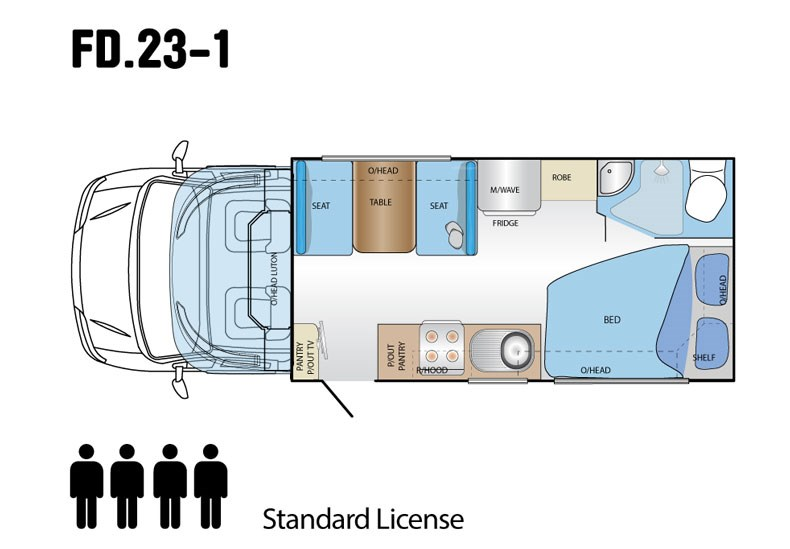 Jayco Conquest 23' Fiat Ducato X250 Layout 1