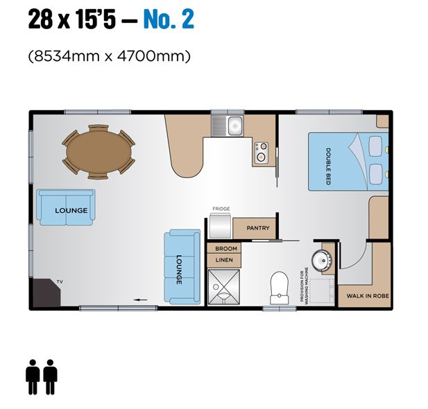 "Jayco Leisure Homes 28 x 15'5"" Floor Plan"