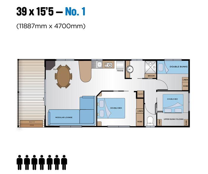 "Jayco Leisure Homes 39x15'5"" Floor Plan 1"