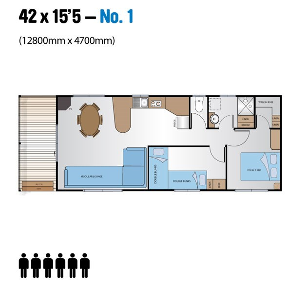 "Jayco Leisure Homes 42x15'5"" Floor Plan"