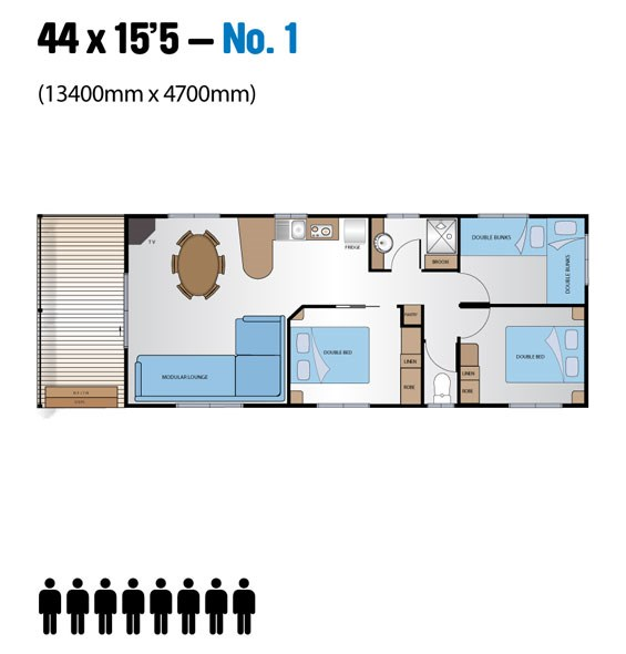 "Jayco Leisure Homes 44x15'5"" Floor Plan"