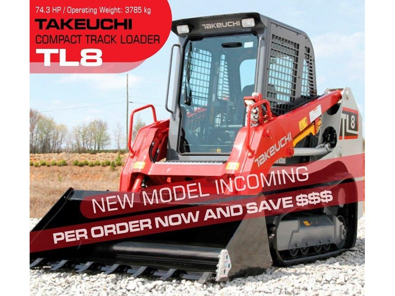 takeuchi tl8 2 speed track loader [machtake] [74hp] as new with new 4 in 1 bucket 241635 001