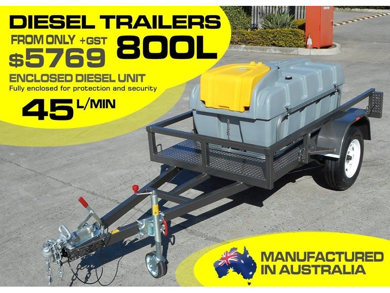 lockable & secure poly diesel fuel trailer 800l enclosed [on road] [tfpoly] [attftrail] 243068 001