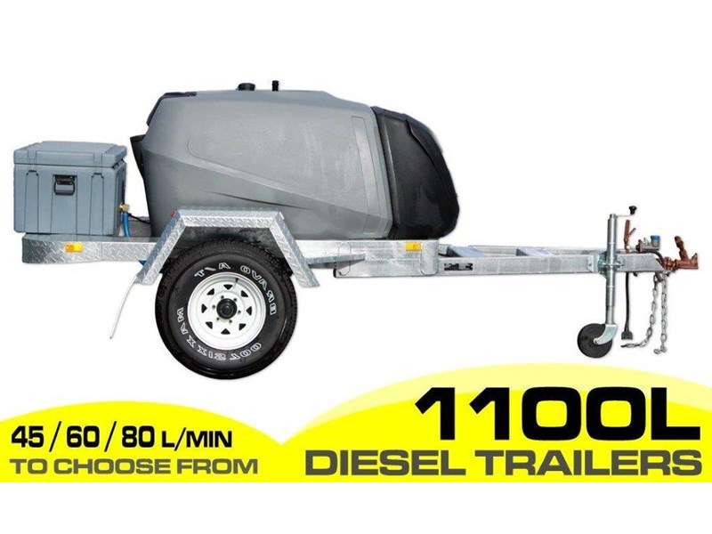 diesel trailer 1100l diesel fuel trailer - fitted with lockable pump box and 10l water tanks. [on road] [tfpoly] [attftrail] 243076 002