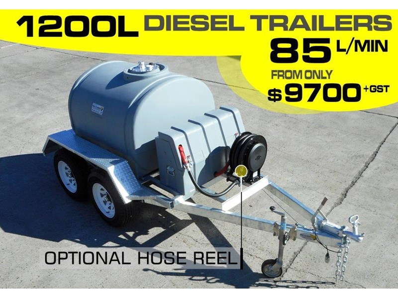 lockable & secure poly 1200l diesel fuel tank trailer with tool box [on road] - 12v 85l diesel pump unit [tfpoly] [attftrail] 243079 002