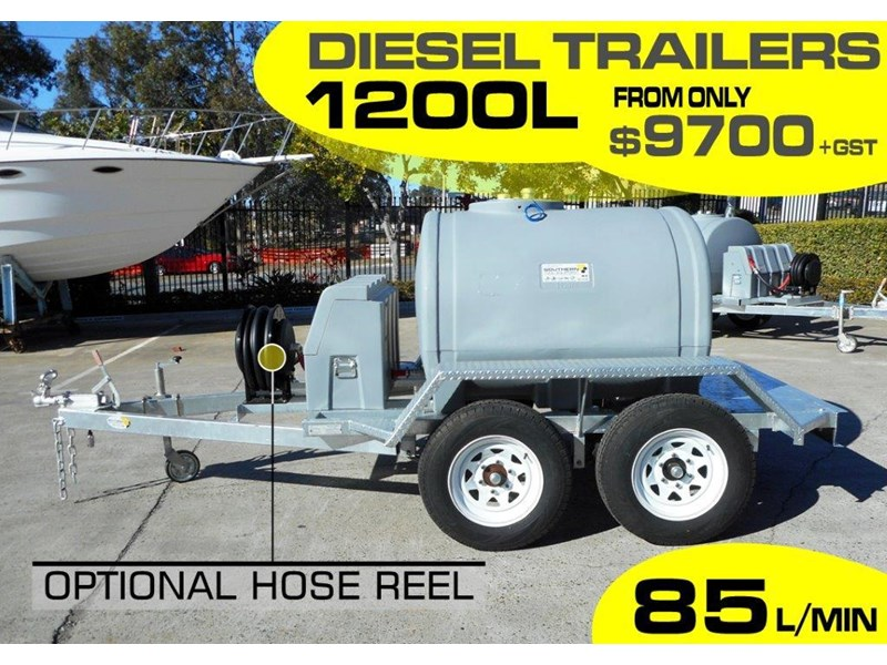 lockable & secure poly 1200l on road diesel cartage fuel trailer with tool box - 12v 85l diesel pump unit [tfpoly] [attftrail] 243078 002