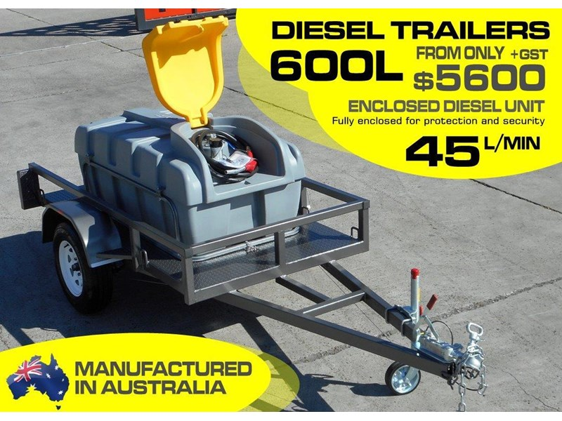 lockable & secure poly diesel fuel trailer [on road] 600l enclosed [tfpoly] [attftrail] 243055 002