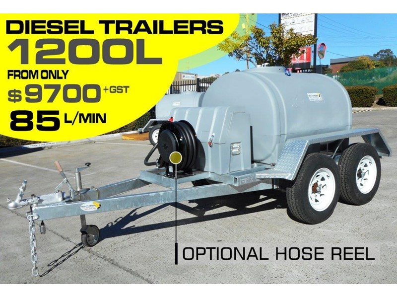 lockable & secure poly 1200l on road diesel cartage fuel trailer with tool box - 12v 85l diesel pump unit [tfpoly] [attftrail] 243078 001