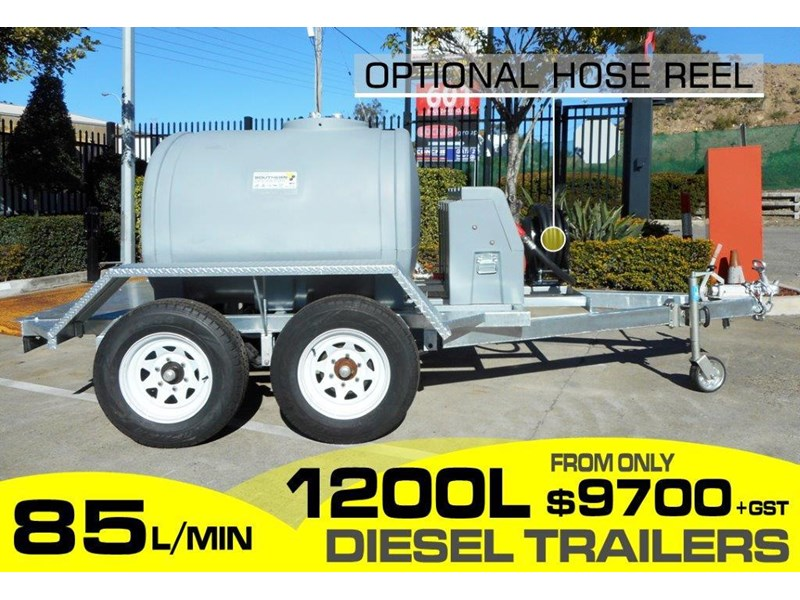 lockable & secure poly 1200l diesel fuel tank trailer with tool box [on road] - 12v 85l diesel pump unit [tfpoly] [attftrail] 243079 001