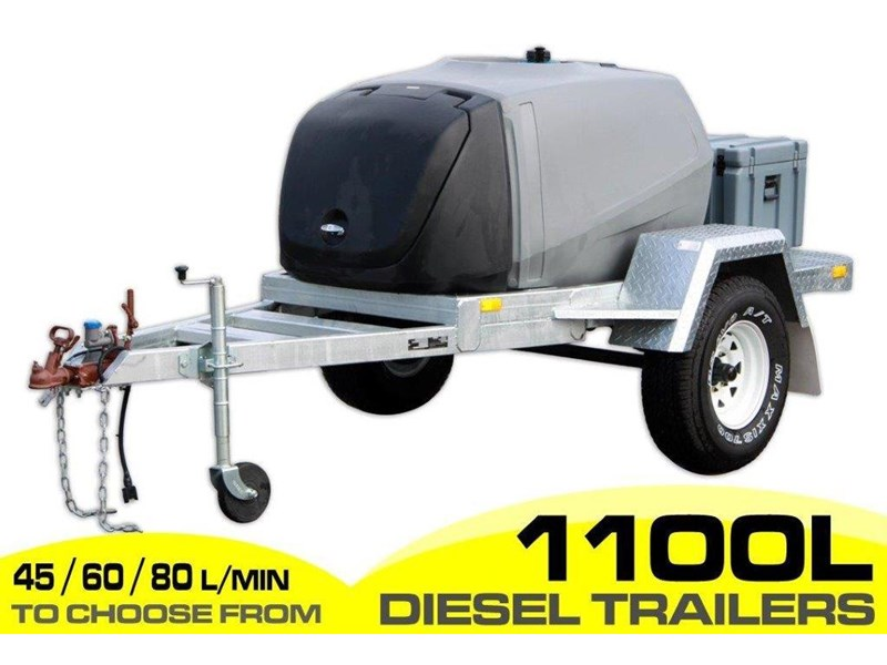 diesel trailer 1100l diesel fuel trailer - fitted with lockable pump box and 10l water tanks. [on road] [tfpoly] [attftrail] 243076 001