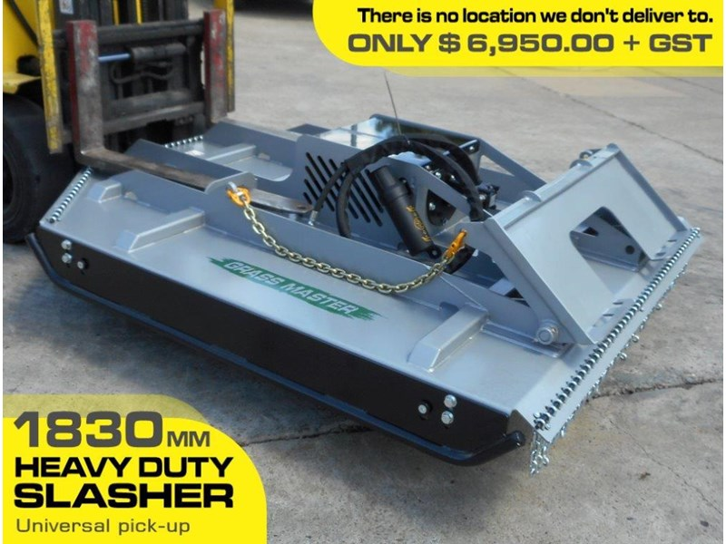 rhino [6' feet] 1830mm slasher / brush cutter attachment - suit bobcat skid steer loader  [attslash] 236323 002