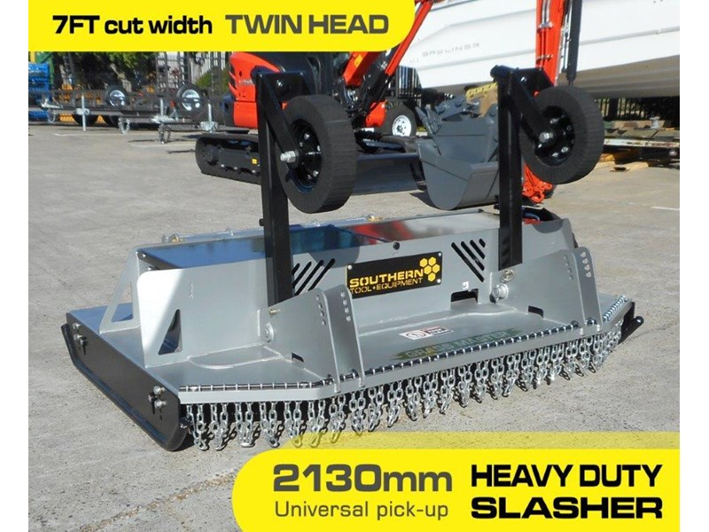 southern tool twin head high flow slasher [7' feet] / 2130mm brush cutter attachment [attslash] - suit excavators / skid steer loader 275290 002