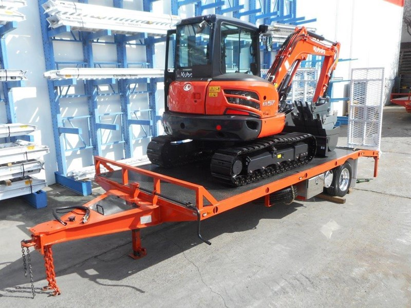 kubota 11 ton single axle 5m tag trailer combo with kubota kx-57/u57 5.5 ton excavator [machexc] [attrail] [mcombo] 318321 004