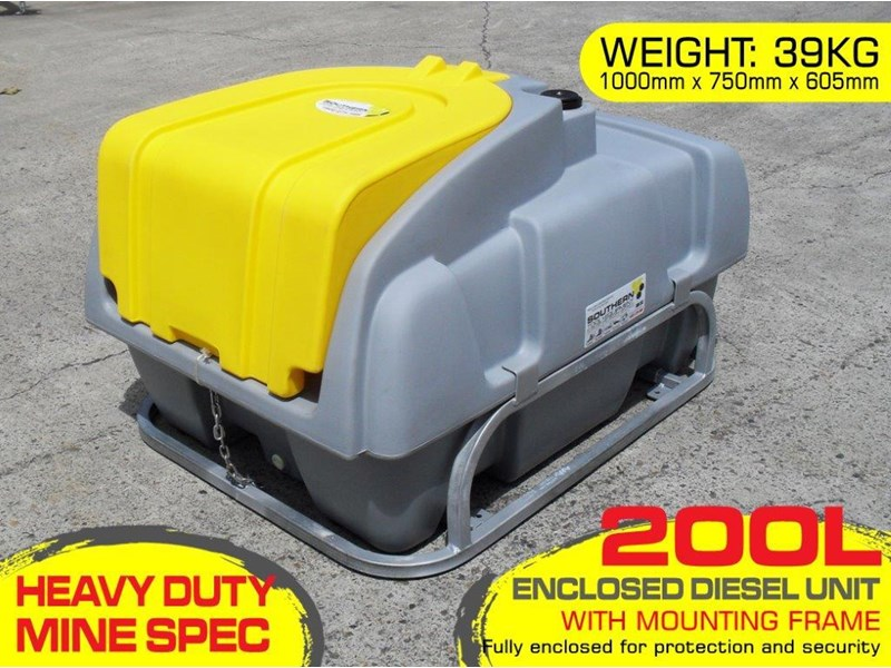 lockable & secure poly diesel fuel tank 200l/ unit with mounting frame [dm200mf] [tfpoly] 243024 001