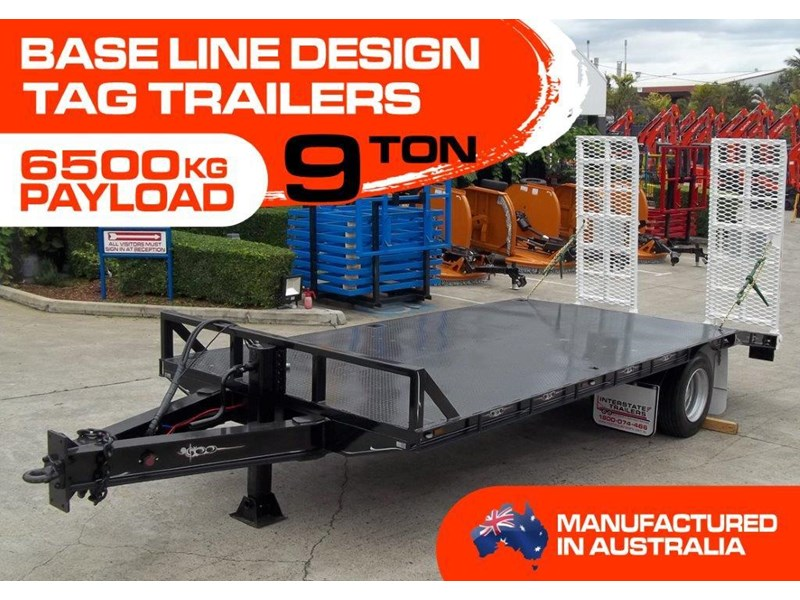 interstate trailers 9 ton base line design tag trailers - suit skid steer loaders / excavator [attttrail] 6.5 ton payload, 2.5 ton tare 344440 001