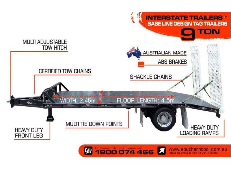 interstate trailers 9 ton base line design tag trailers - suit skid steer loaders / excavator [attttrail] 6.5 ton payload, 2.5 ton tare 344440 003
