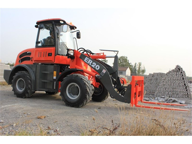 everun er20 wheel loader with 2 buckets and forks 349639 007