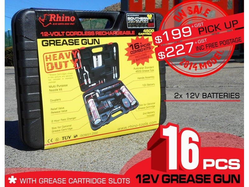 rhino 12v rechargeable grease gun - [tfggun] gg06 [free delivery] 242947 002