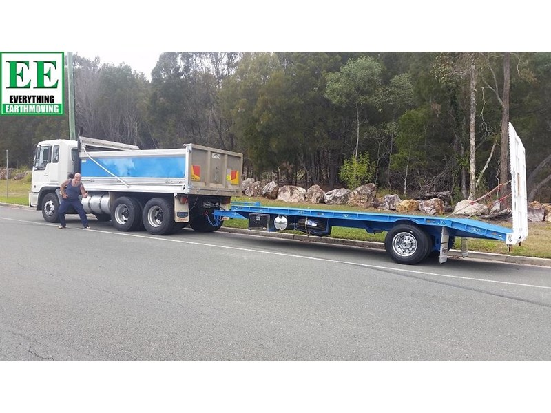 everything earthmoving 11t atm single axle tag trailer with beaver tail 357093 013
