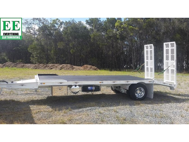 everything earthmoving 11t atm single axle tag trailer with beaver tail 357093 028