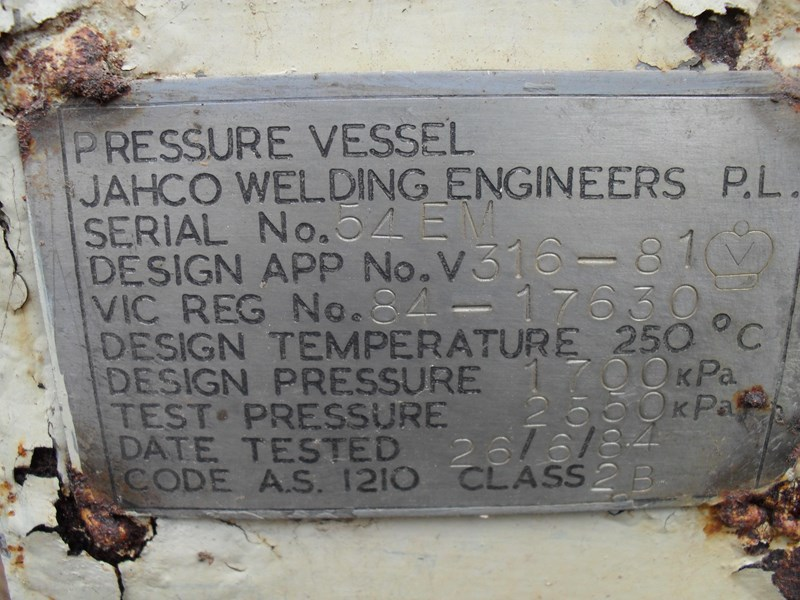 jahco welding engineers p/l pressure vessel 364891 003