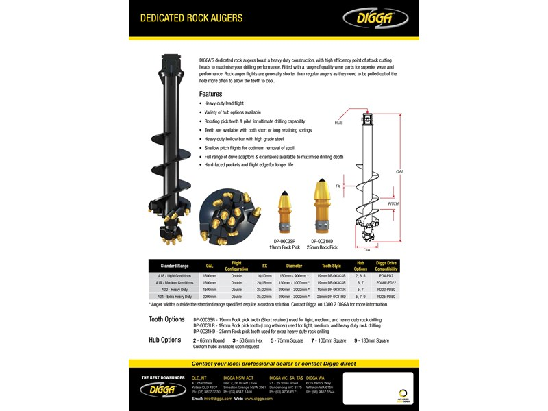 digga a20 dedicated rock auger 367607 002