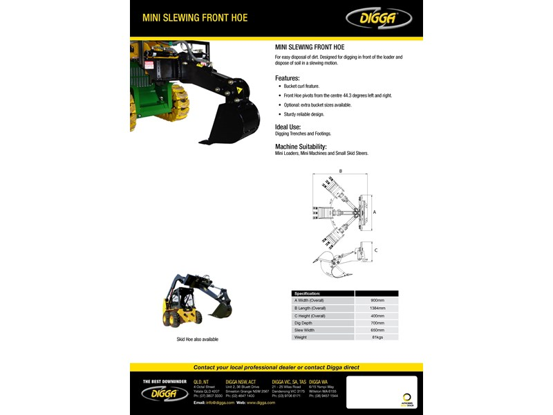 digga mini slewing front hoe 367700 003