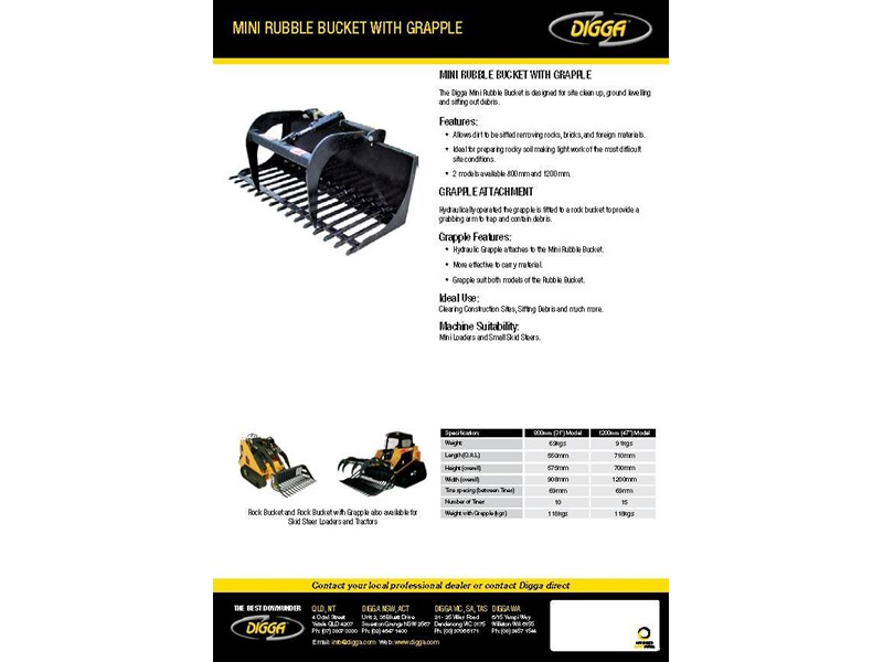 digga mini rubble bucket with grapple 367808 003