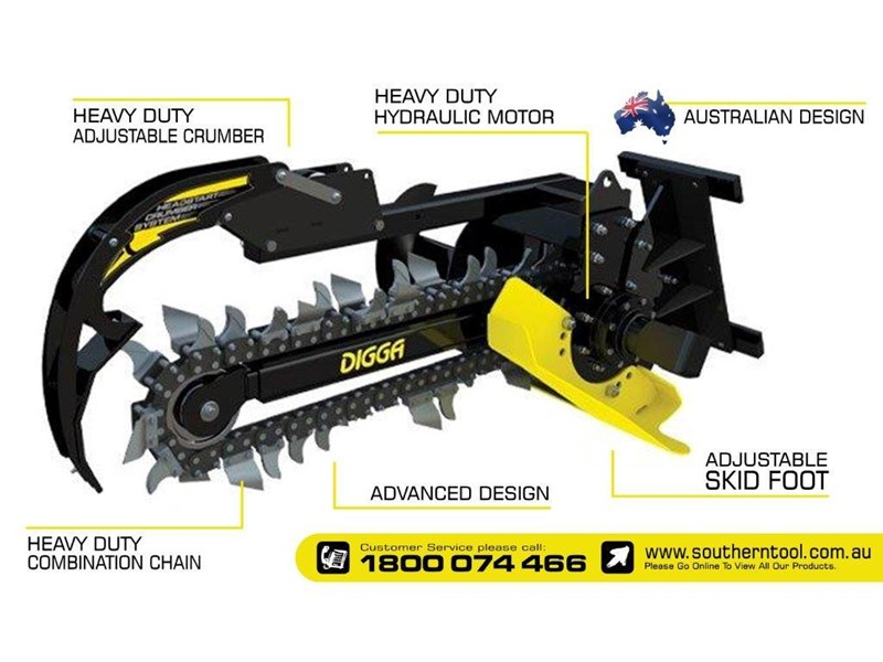 digga bigfoot 900 hydraulic trencher - 900mm dig depth suit skid steer loaders.[atttren] 384563 004